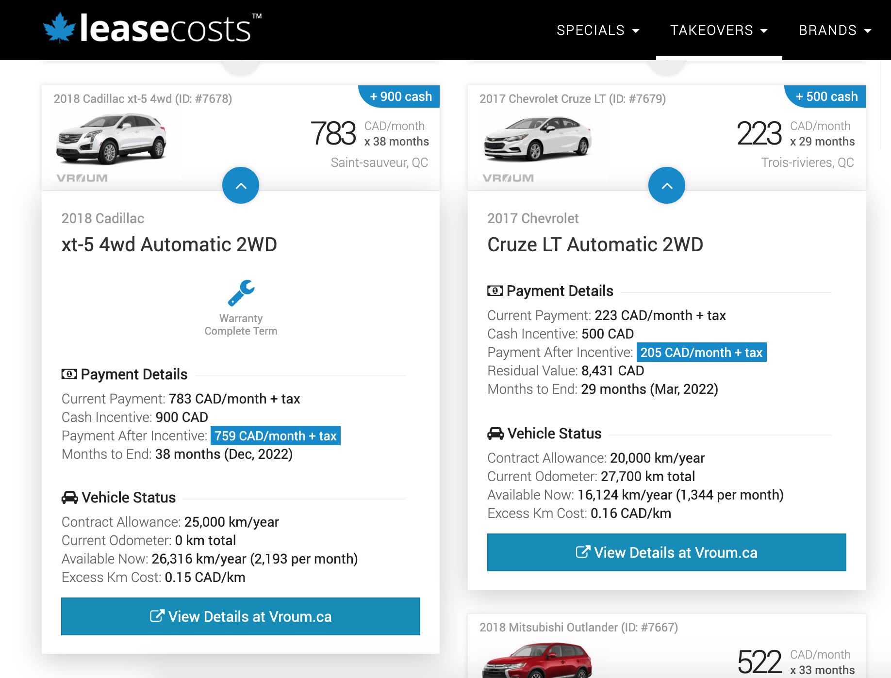 Vehicle Details on the Lease Takeover Network