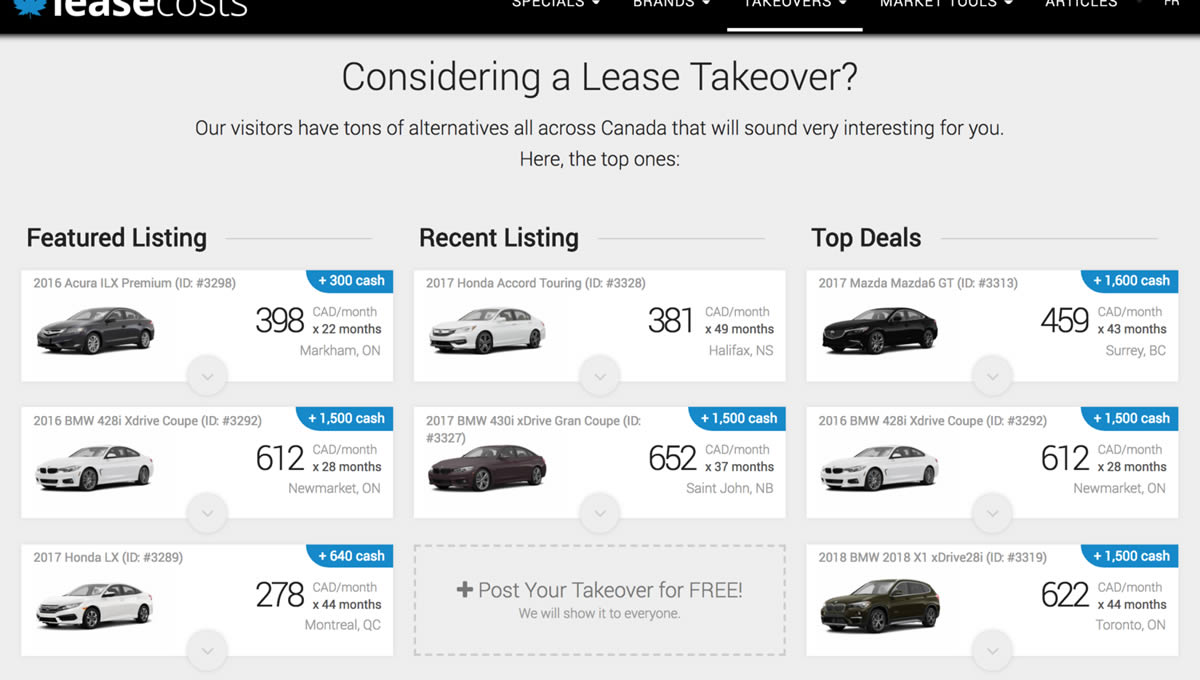 Best Car Deals in Canada May 2018: Lease Takeover Marketplace