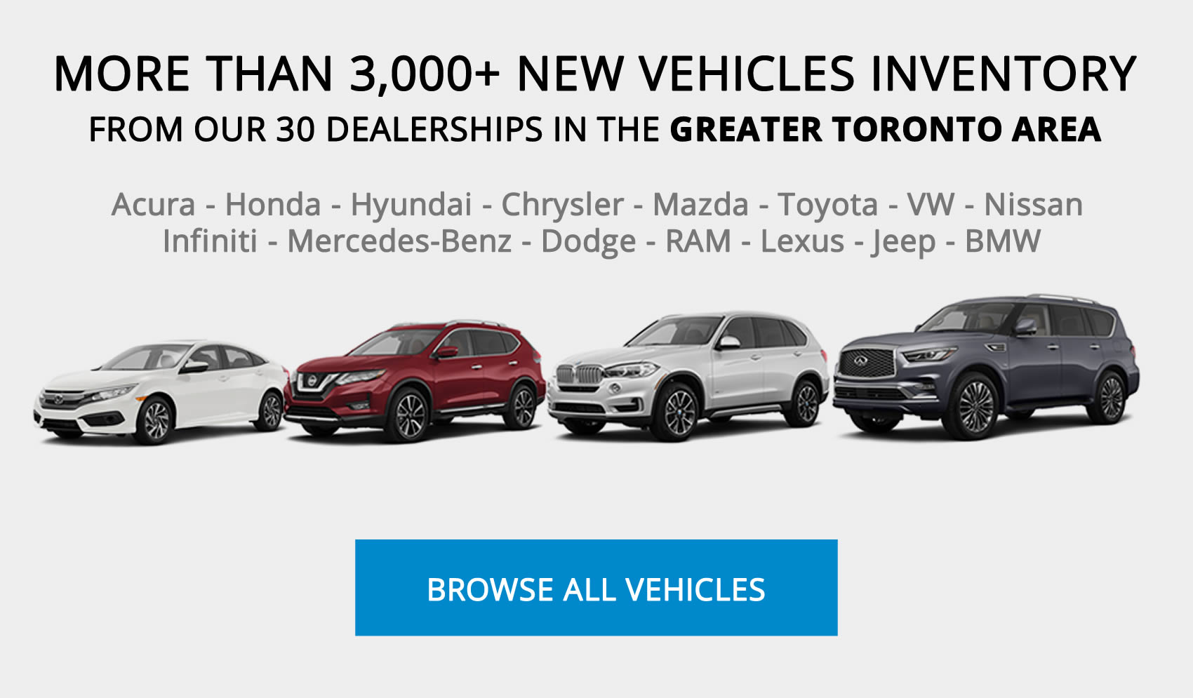 Toronto Area Best Car Deals: MORE THAN 3,000+ NEW VEHICLES INVENTORY FROM OUR 30 DEALERSHIPS IN THE GREATER TORONTO AREA