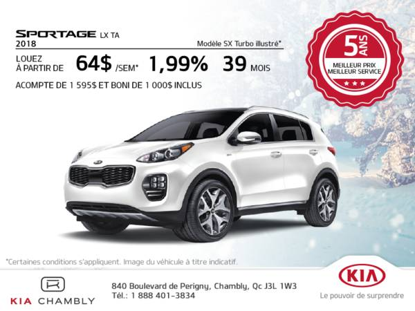 Kia Chambly - 2018 Sportage LX TA from only $ 64 per week