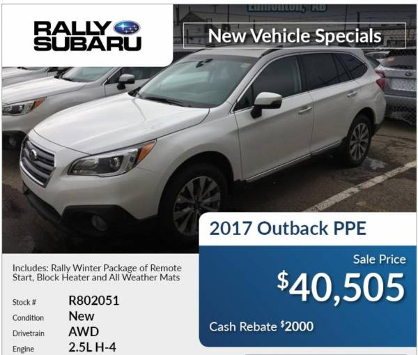 Rally Subaru - 2017 Outback PPE with Cash Rebate of $2,000
