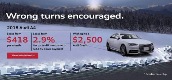 Montreal Car Deals: ParkAvenue Audi - 2018 Audi A4 Lease from $418 per month, $3,675 down & Up to $1,500 Audi Credit