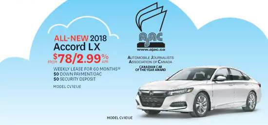 Lakeshore Honda - 2018 Accord 78/week & 0 down