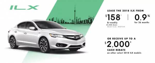 Acura of North Toronto - 2018 Acura ILX  lease for $158 bi-weekly with 3,000 down x 36 Months