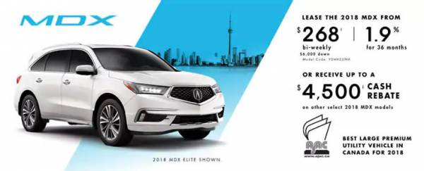 Acura of North Toronto - 2018 Acura MDX lease for $268 bi-weekly with 6,000 down x 36 Months