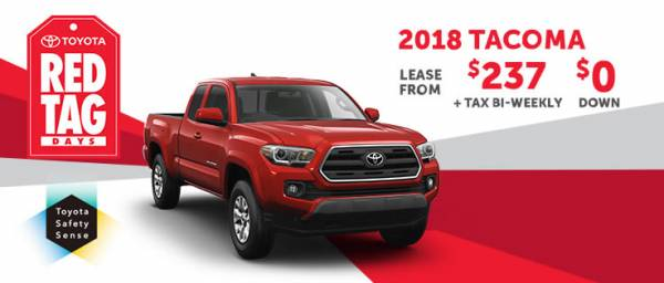 2018 Tacoma lease from $237+tax bi-weekly $0 down
