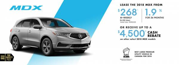 Hamilton Acura - 2018 Acura MDX $268 bi-weekly with $6,000 cash down. 1.9% for 36 months