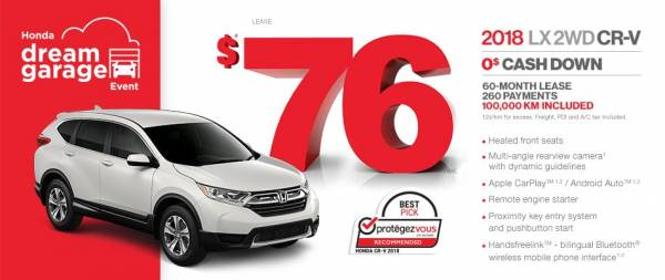 Honda de la Capitale - Lease 2018 CR-V LX 2WD $0 cash down $76/week x 60 months