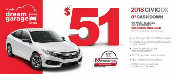 Honda de la Capitale - Lease the 2018 Civic DX $0 down $51/week x 60 months