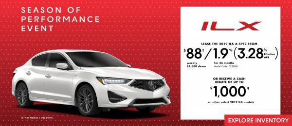 Acura of North Toronto - 2019 Acura ILX lease for $88 weekly with 4,600 down x 36 Months