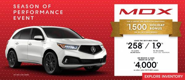 Acura of North Toronto - 2019 Acura MDX lease for $258 bi-weekly with 6,500 down x 36 Months