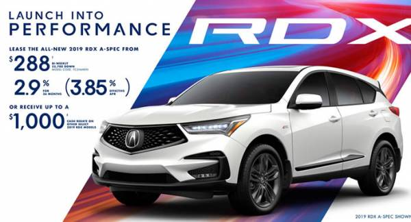 Hamilton Acura - 2019 Acura RDX $288 bi-weekly with $5,700 cash down. 2.9% for 36 months