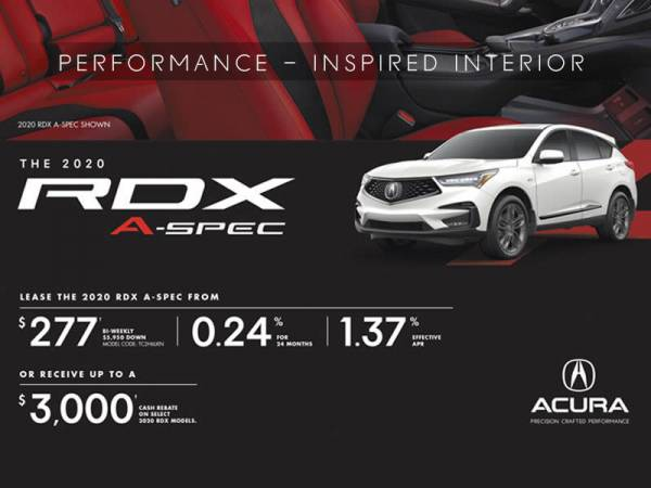 Acura of North Toronto - 2020 Acura RDX lease for $277 bi-weekly with 5,950 down x 24 Months